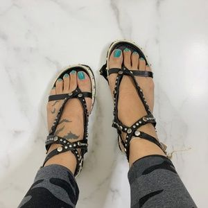 NEW AS 98 Boho chunky studded gladiator sandals 38